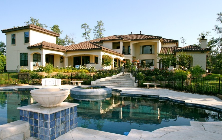 Stock Photo Image of the Backyard of a home with a pool