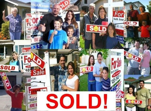 Photos of a bunch of our clients with the SOLD sign